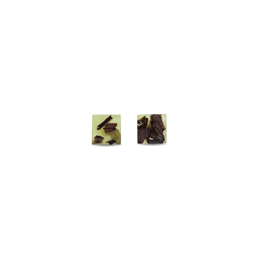 QUADRATIC OLIVE GREEN auskarai