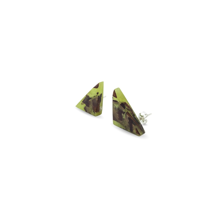 TRIANGLE OLIVE GREEN auskarai
